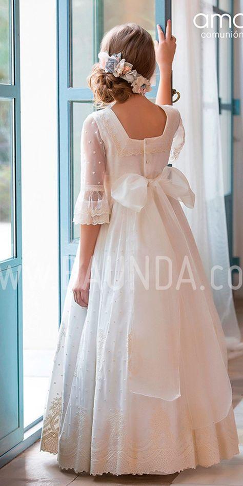 410592e2a Vestido comunión Amaya 2019 modelo 916. Precioso y elegante vestido de  comunión de corte romántico