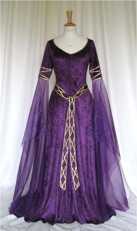 Eve, a Celtic, Elvish, Medieval, Pagan Wedding Gown with Applique Decoration