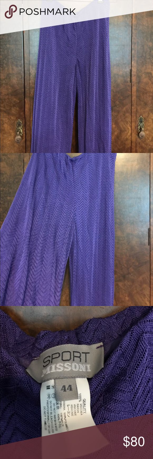 Missoni Pants IT 44 purple Gorgeous Missoni pants with iconic chevron print in purple. Size IT 44. Gently used. Has a lining for the pants. Would look great as with some of the Missoni bikinis I have listed. Please check out my other Missoni listings. (Was in a Missoni phase some time ago and purchased all these pieces at a high end boutique in Europe. ) Now you can get these Missoni pieces for great prices! Missoni Sport Pants