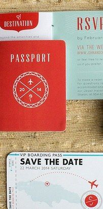 Set the tone with travel-themed save the dates: | 27 Creative Ideas For A Travel-Themed Wedding