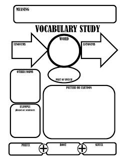 Tips & Tricks Teaching: Upper Elementary / Middle School Reading Freebies Vocab study graphic organizer