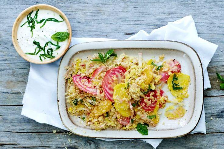 Deze vegetarische salade is een lust voor het oog én de mond! Recept - Couscoussalade met biet en sinaasappel - Allerhande