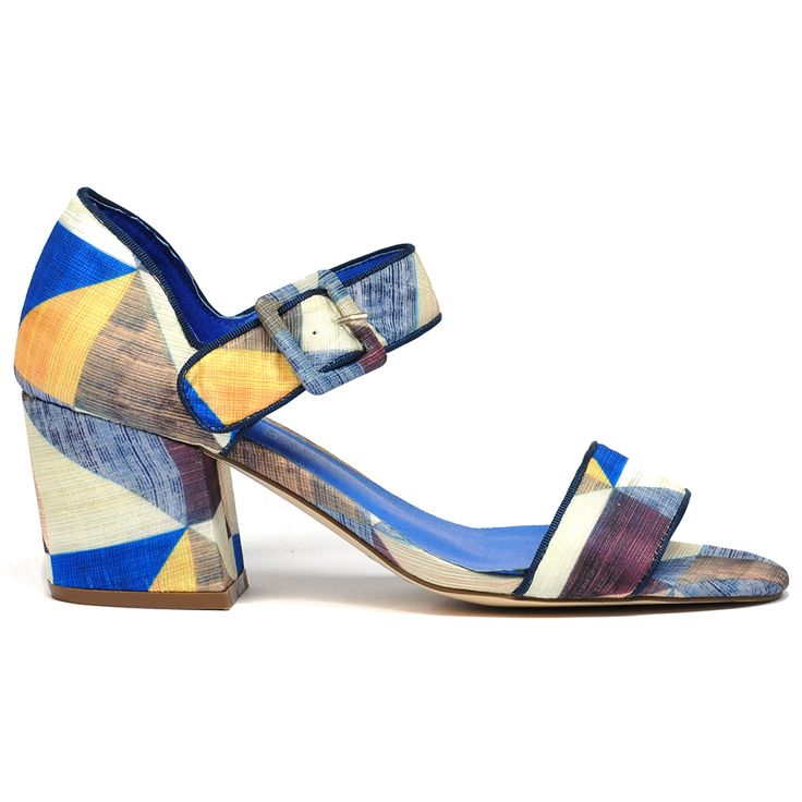Naki by I Love Billy. #ilovebilly #cinorishoes #cinori #midheel #comfortableshoes #heels #blockheel #Under100 #blue #print #fabric #pretty #races #affordable #fashion