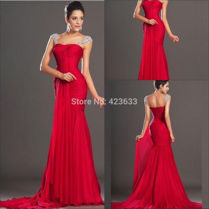 На заказ красный длинные русалка сексуальные вечерние платья 2015 Chiffon красные вечерние платья / на заказ