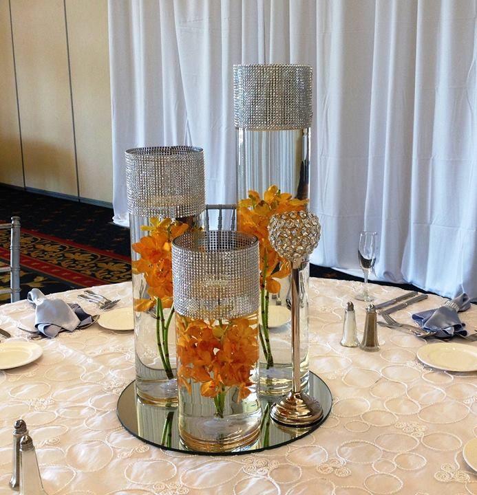 Centerpiece Cylinder Vases Submerged Orange Mokara Orchids Modern Crystal Bling Bling