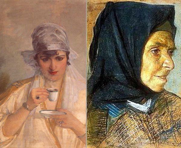 Soldaki ;Mihri Müşfik, Otoportre  Sağdaki ; Mihri Müşfik, Yaşlı Kadın Portresi