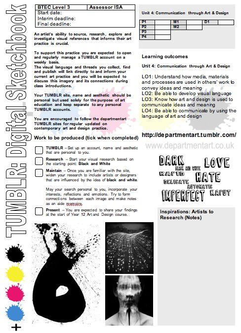 TUMBLR Project, Tumblr brief, digital sketchbook brief, BTEC brief