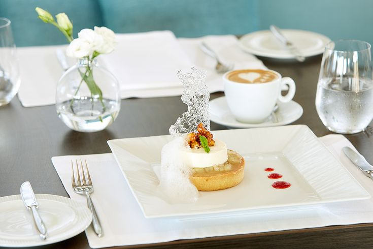 A special apple tart with mousse of cheeses perfectly combined with afternoon coffee..