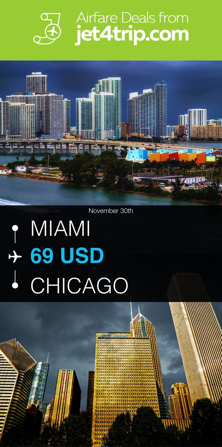 Flight from Miami to Chicago for $69 by United Airlines #travel #ticket #deals #flight #MIA #CHI #Miami #Chicago #UA #United Airlines