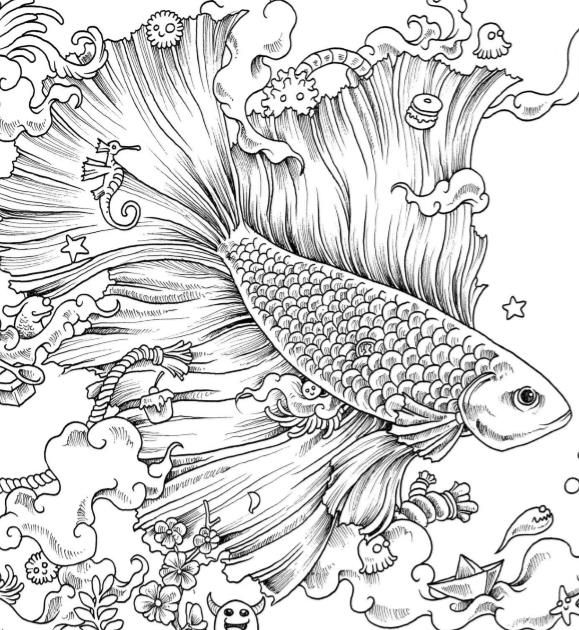 Coloring Books Free Anti Stress Zentangle Therapy Fish