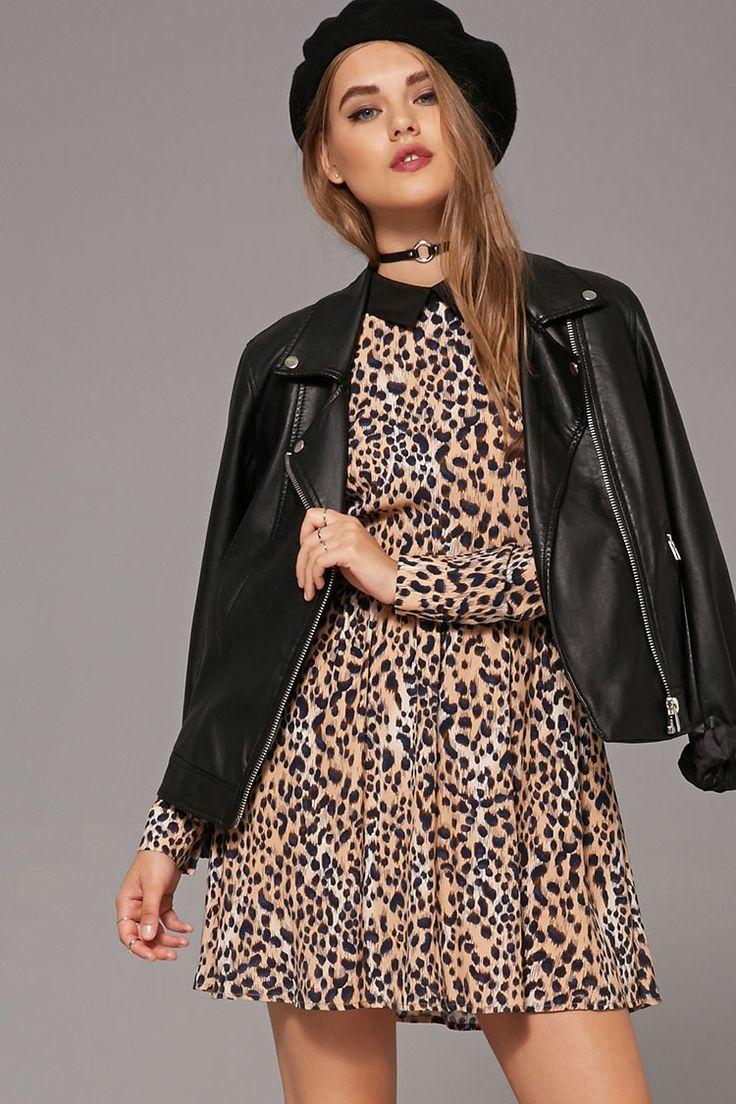 Collared Leopard Print Dress