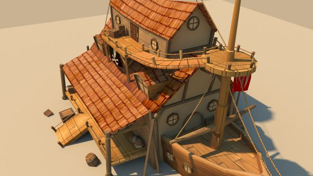The Art of Toby Lewin: Low Poly House Boat Update