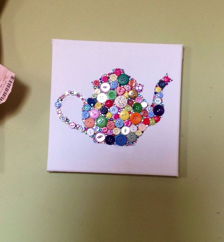 Button Art Teapot Canvas - Multicoloured - Kitchen Gift