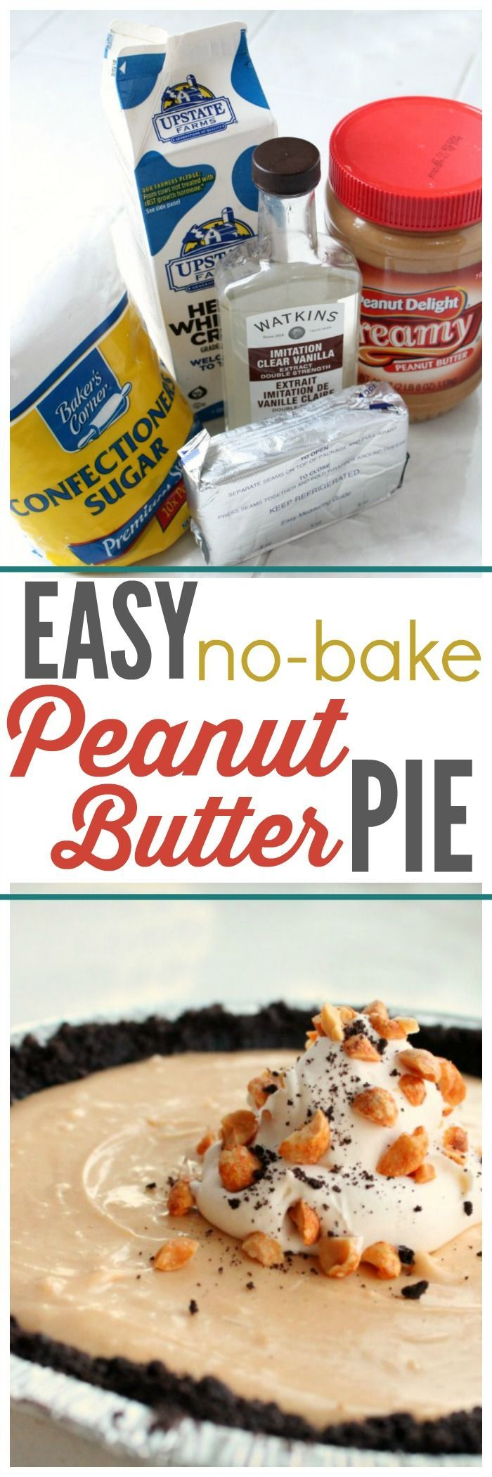 Easy Easy No-bake Peanut Butter Pie Recipe that will BLOW YOUR MIND! ~ http://reallifedinner.com