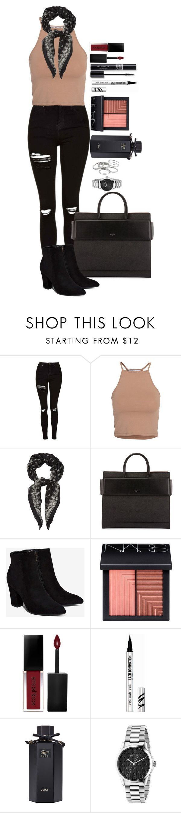 """""""Untitled #1607"""" by fabianarveloc on Polyvore featuring Topshop, NLY Trend, Yves Saint Laurent, Givenchy, Billini, NARS Cosmetics, Christian Dior, Smashbox, Bare Escentuals and Gucci"""