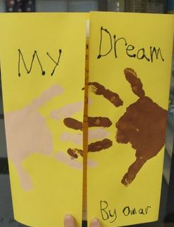Open it up and inside is their writing of what their dream is inside. :) Super cute!
