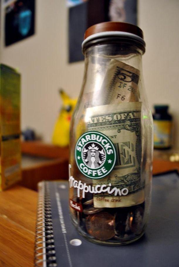 cute, drink, frappuccino, money, piggy bank