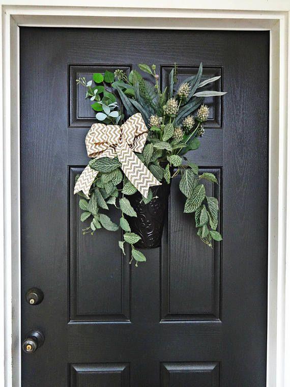 Greenery Basket For Door Metal Container Wreath Front Door Decoration Chevron Bow Decor Wreath Alterna Wreath Alternative Metal Containers Front Door Decor