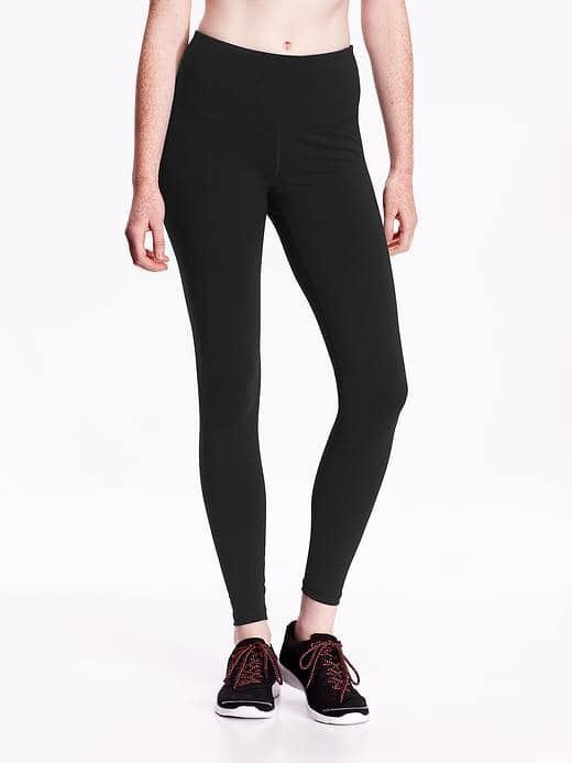 Old navy's classic high-waisted black leggings are my absolute favorite. Comfortable, quality fabric that washes and dries easily. I recommend over all my Athletic brand name leggings.