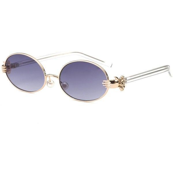 Metal Hand Faux Pearl Nose Pad Oval Sunglasses (14 BGN) ❤ liked on Polyvore featuring accessories, eyewear, sunglasses, nose pads glasses, metal glasses, metal sunglasses, grey glasses and oval glasses