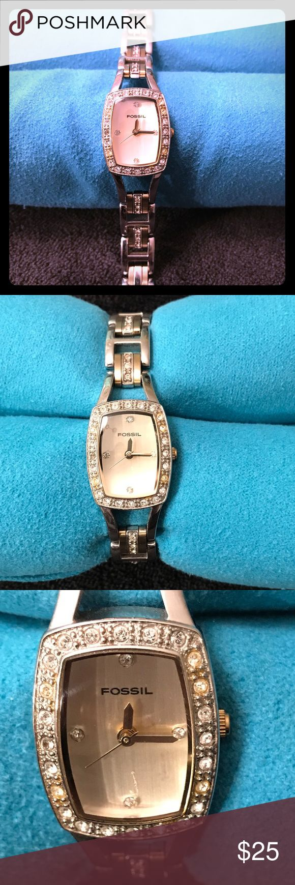 ⚡️Make me an offer⚡️ Fossil ladies watch two-tone Fossil Women's F2 ES1170 Two Tone, Crystal Laced, Steel Band Wrist Watch w/ Analog Dial   •Needs battery 🔋• Beautiful ladies watch for everyday wear, dress it up or down, you can't go wrong! Small scratch on crystal (pic), band is in good condition and extra link(s) included.   No trades.  ⚡️Make me an offer⚡️ Fossil Accessories Watches