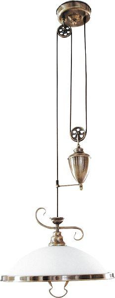 Elisett - závesné rustikálne svietidlo s kladkou - bronz