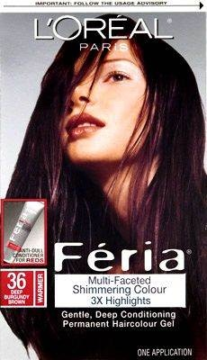 Oreal Feria Hair Color 36 Chocolate Cherry – Deep Burgundy Brown - I wore this color in my early 20's. why oh why do I love switching between dark and light colored hair!