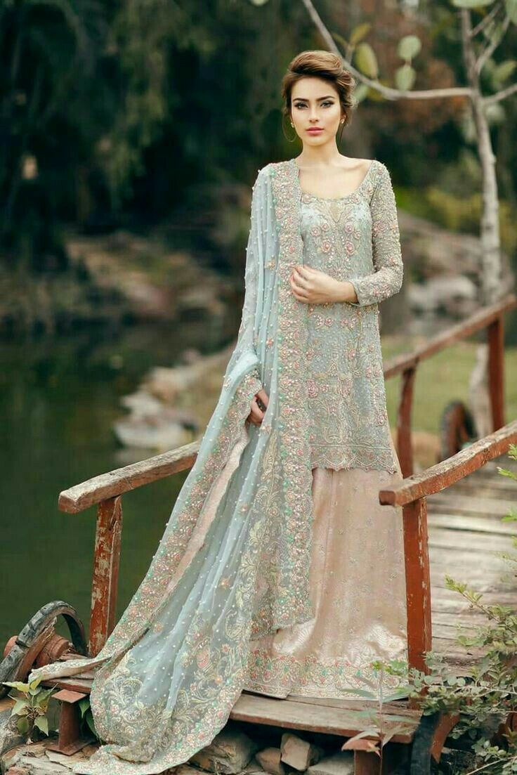 e5a34b7b6d Light blue & pink | Weddings | Bridal dresses 2017, Pakistani bridal ...