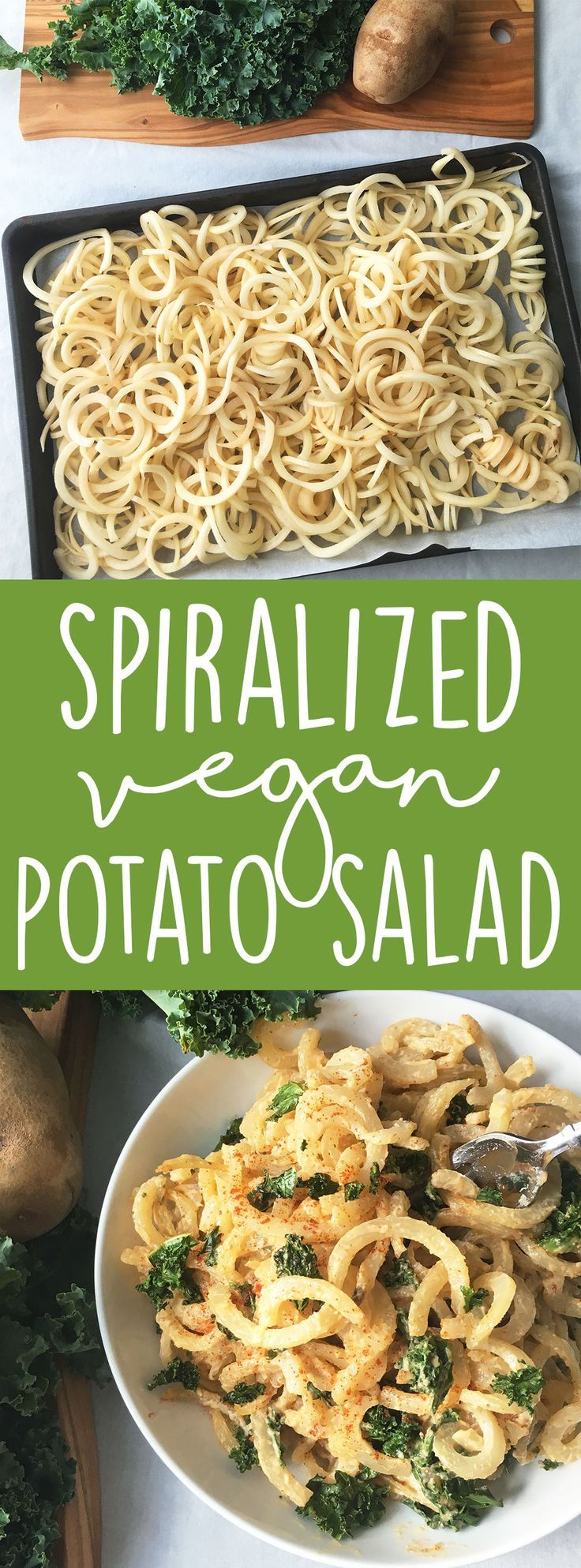 Make an impressive vegan side dish with a twist on classic potato salad! Break out your spiralizer and make this vegan spiralized potato salad with kale for your next cook out or BBQ! (Vegan Side Dish - Vegan BBQ Recipe)