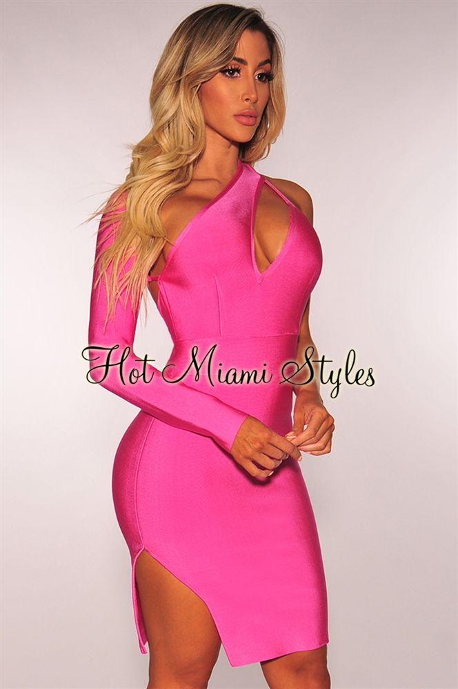 1f3857892d43 Barbie Pink Bandage Cut Out One Shoulder Dress | HotMiamiStyles ...