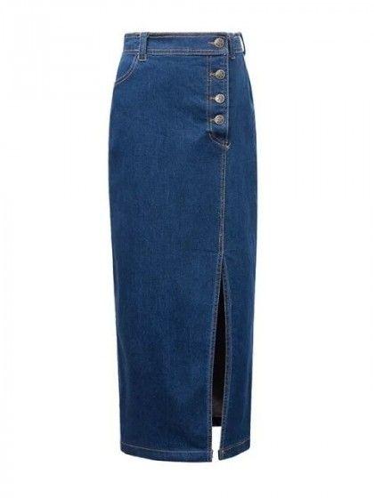 9fb068c8eb High Waist Button Fly Split Side Tube Maxi Denim Skirt   idea for ...