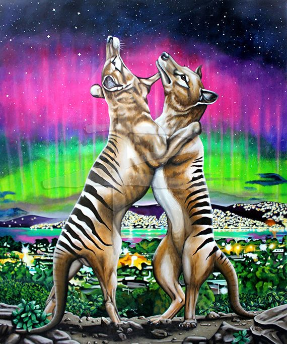 Tasmanian Tiger painting by Australian contemporary artist Laural Retz