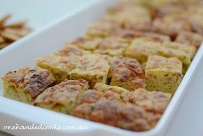 one handed cooks: kids party food: zucchini slice