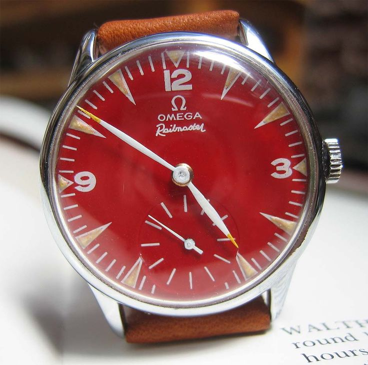 "Vintage 1940s Red Dial Omega ""Railmaster"" Wristwatch. If this were my husbands watch I would steal it every mornnig."