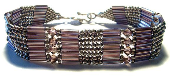 """bracelet that uses """"ladder stitch"""" - tutorial for this stitch and pictures of other uses.  a basic."""