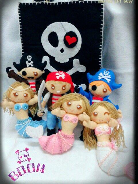 Pirates and mermaid felt handmade..