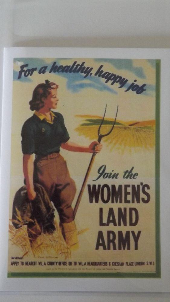 The Womens Land Army.WW2. Blank Greetings Card. £2.00