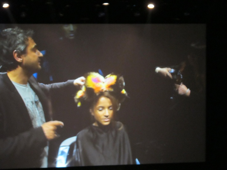 """Our art director for @Davines #angeloseminara live on stage. His presentation and look he dedicated to our new styling line that will launch in the states at #COSMOPROF called """"MORE INSIDE"""" take a look at my album i have on the CHRISTINA SANCHEZ HAIR DESIGN page. #wwht2013 #educationiskey #CSHD #WWHT2013LMT https://www.facebook.com/media/set/?set=a.511696932213214.1073741828.196494687066775=1=0bd880a929 @Hairbrained.me"""