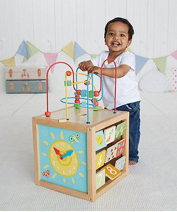 The Giant Wooden Activity Cube is everything that your little one needs to play…