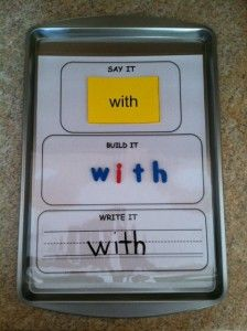 Say it, build it, write it sight word activity with Dollar Store cookie sheets.