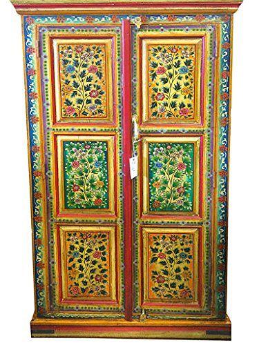 Vintage Indian Cabinet Reclaimed Antique Jodhpur Floral Hand Painted Storage Armoire Indian Furniture Mogul Interior http://www.amazon.com/dp/B00PRTF446/ref=cm_sw_r_pi_dp_AiZAub0XEZR9Y                                                                                                                                                                                 Mais
