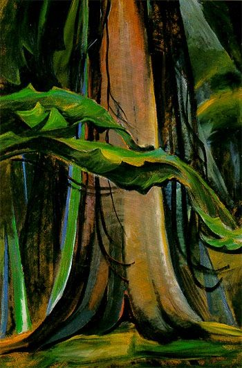 Emily Carr - Red Tree. this painting shows very much nature as much as all of Emily Carr's paintings there are harsh lines that outline the leaves and trees.