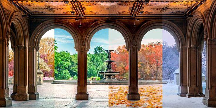 8 lieux capturés lors des 4 saisons de l'année et rassemblés sur une même photographie