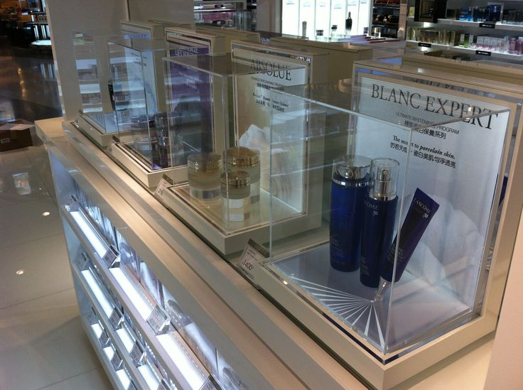 Lancôme Luxury Cosmetics Brand Glorifier Counter Display White Silver Skincare LED lighting POS POP Retail Design Yamei Group