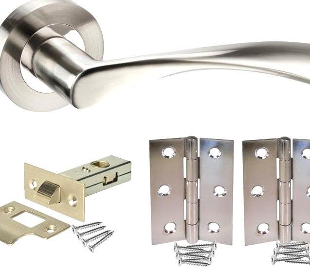 Interior Door Handle Pack with Stainless Steel Door Handles Door Hinges /& Latch