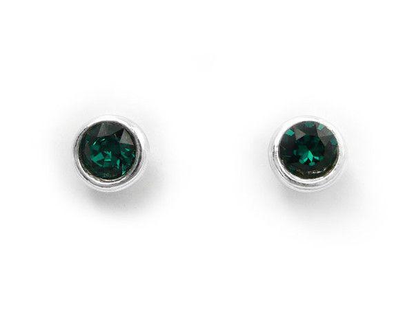 Birthstone Stud Earrings - May Emerald