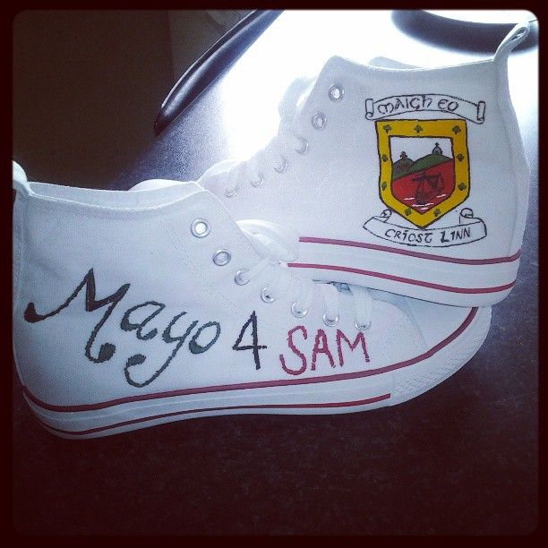 #mayo4sam embroidery and paint, supporting the red and green