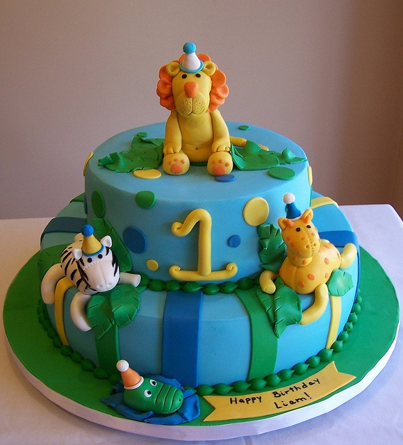 Jungle animals - first birthday cake by cakespace - Beth ...