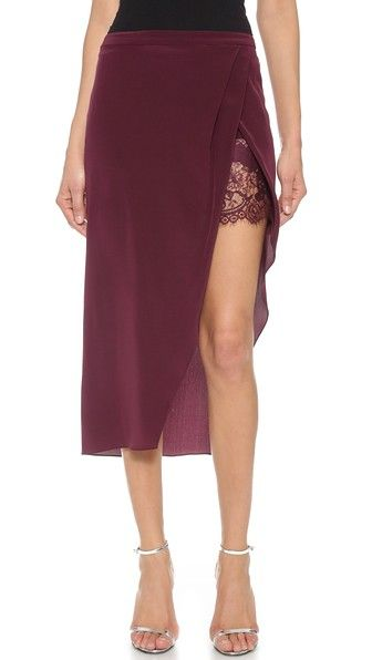 Michelle Mason Wrap Skirt with Lace