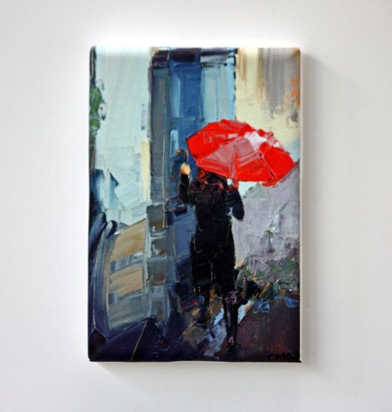 Tiny Canvas  Red Umbrella  Child Art  Canvas by ClaireMcCallArt
